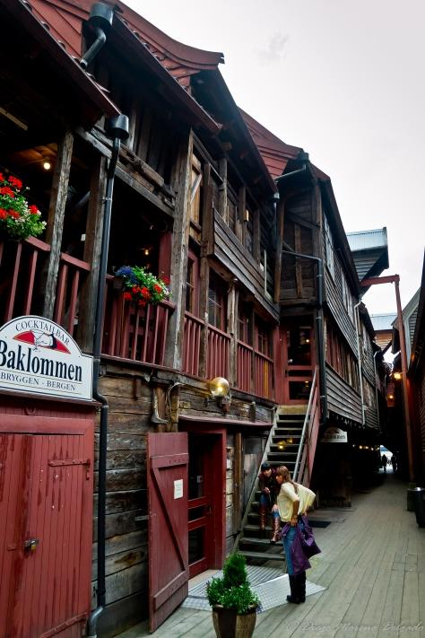 Callejuelas entre las casas del Bryggen.