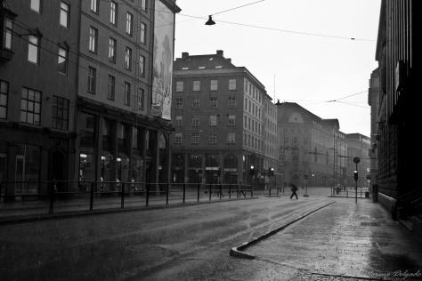 Primer día de lluvia en la ciudad.