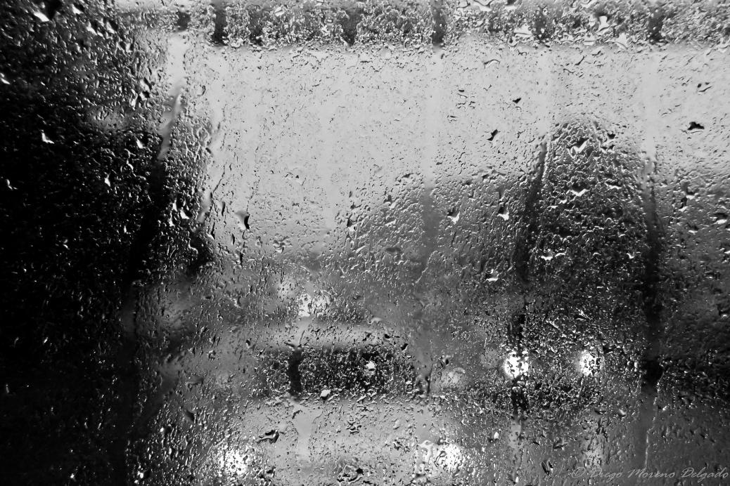 Viajando en autobús bajo la lluvia de Bergen.