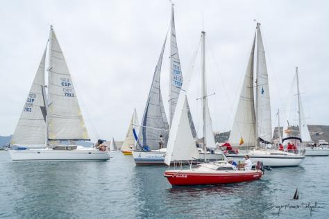 Las embarcaciones durante la celebración de la prueba