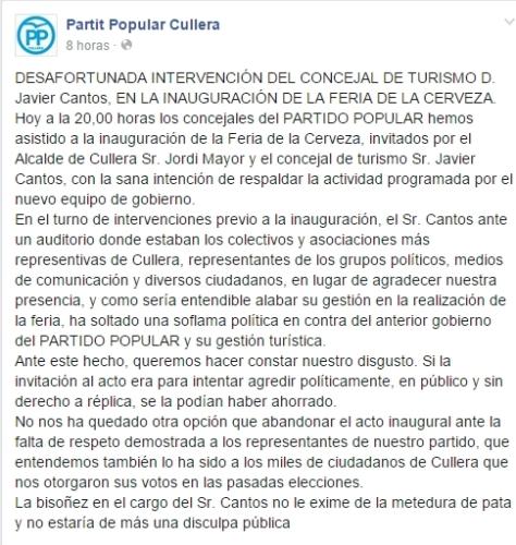 """""""Comunicado del PP de Cullera."""""""