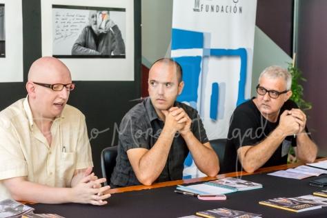 """""""De izquierda a derecha, Joaquín Vallet, Julio Martí y Jordi Piris, durante la rueda de prensa - Diego Moreno"""""""